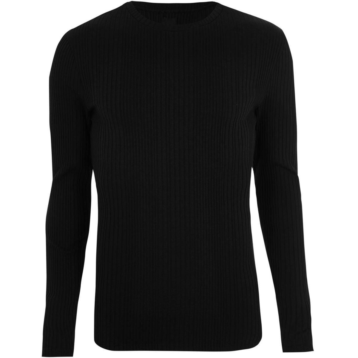 T-shirt noir en maille côtelée à manches longues