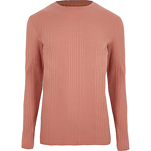 Pink long sleeve ribbed muscle fit knit top