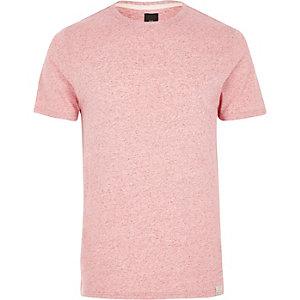 Light pink neppy fabric slim fit T-shirt