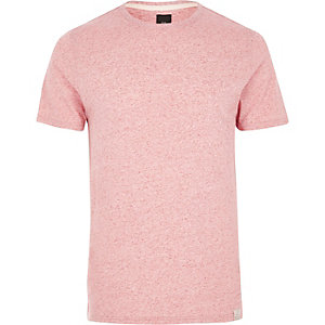 Light pink neppy fabric slim fit T-shirt