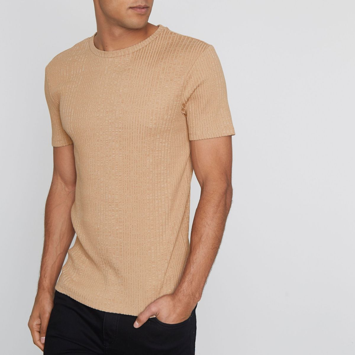 Light brown ribbed muscle fit t shirt t shirts vests for Mens ribbed t shirts