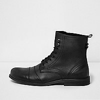 Black distressed leather lace-up boots