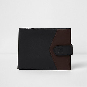 Black block leather tab fasten wallet