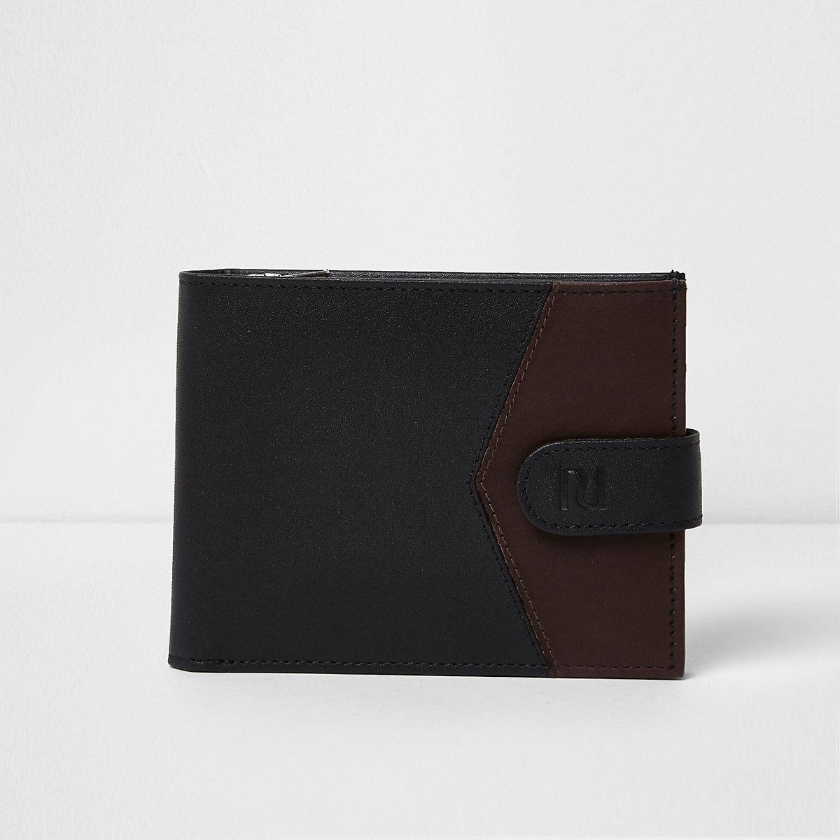 Black block leather tab fasten wallet