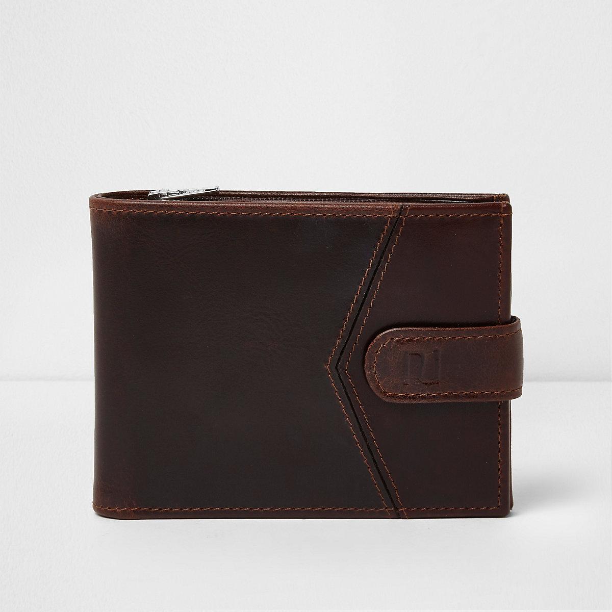 Brown block leather tab fasten wallet