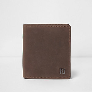 Dark brown oil coated leather wallet