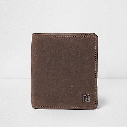 Dark brown oil coated leather wallet