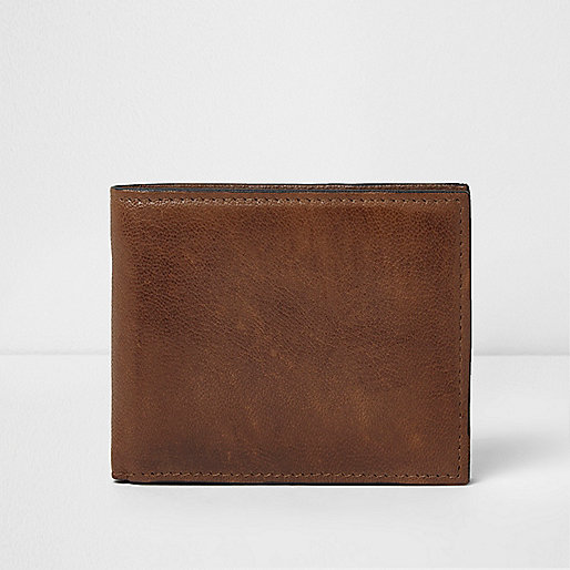 Tan brown leather folout wallet