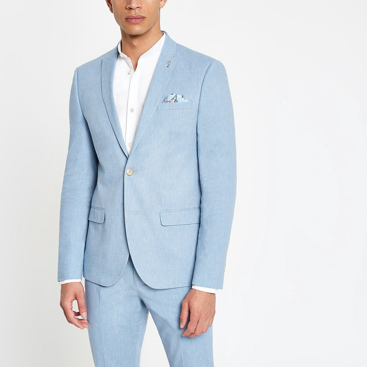 Light blue skinny fit suit jacket with linen