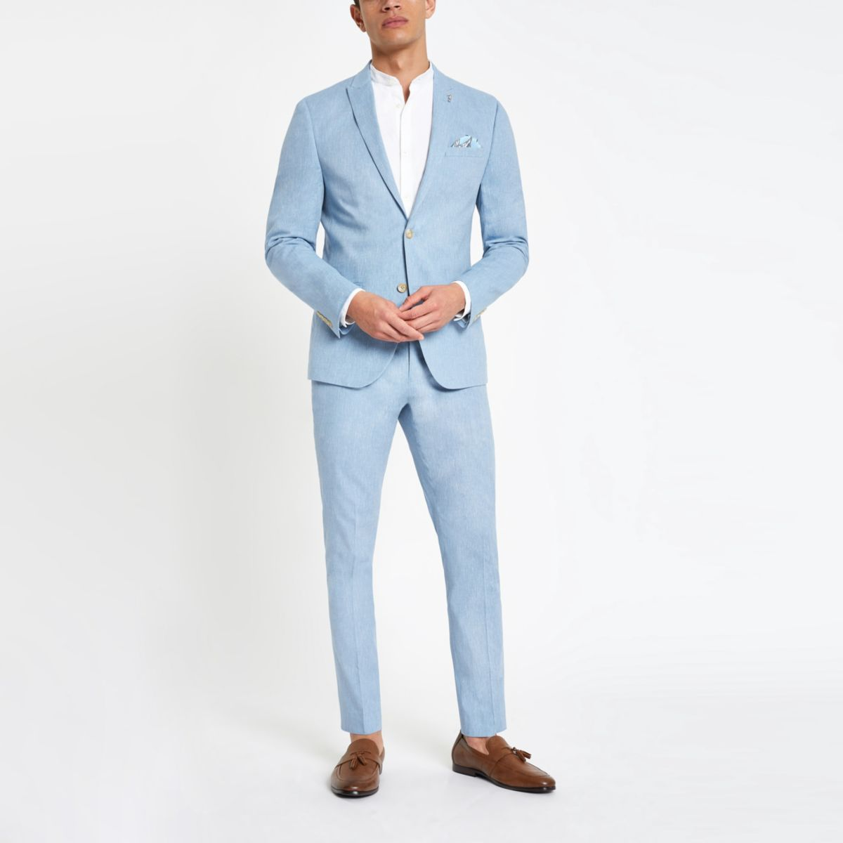 skinny fit blue Light jacket linen with suit TaUanqW