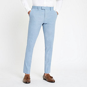 Light blue skinny suit pants with linen