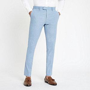 Lichtblauwe skinny-fit pantalon met linnen