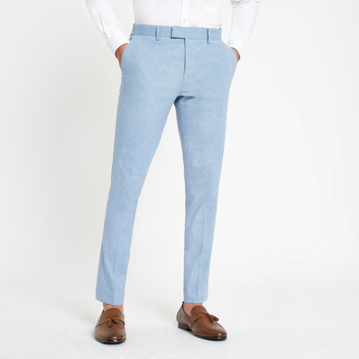 Light blue skinny suit pants with linen