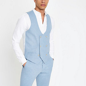 Light blue waistcoat with linen