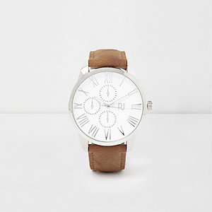 Light brown round silver tone face watch