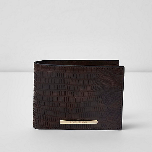 Dark brown snake embossed wallet