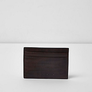 Dark brown snake embossed card holder