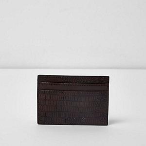 Dark brown snake embossed card holder
