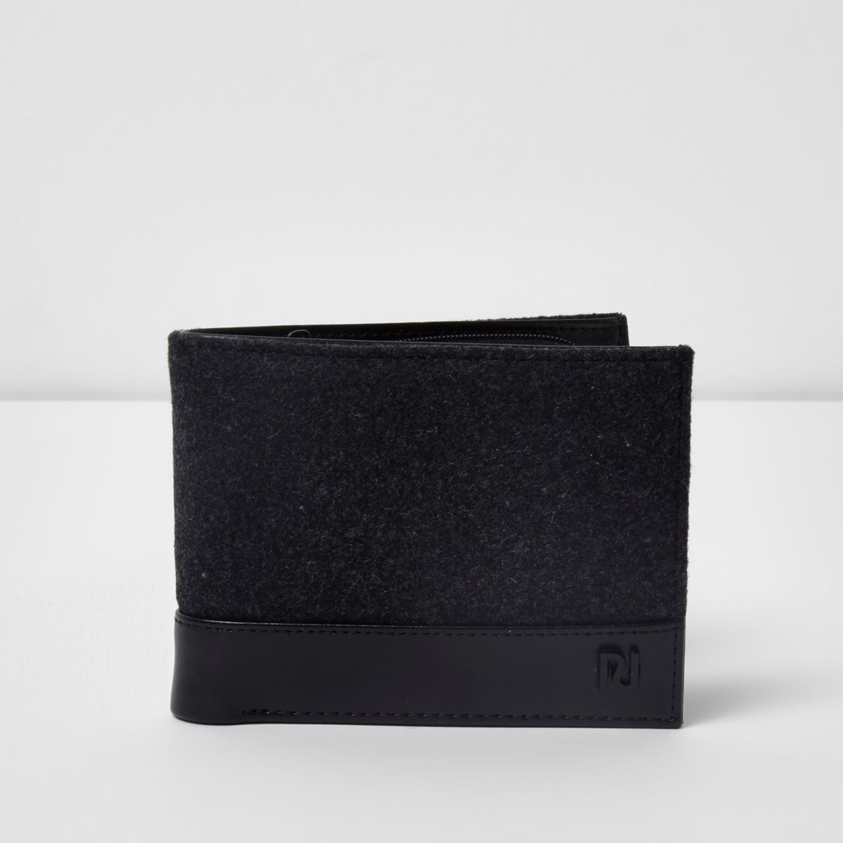 Grey melton and faux leather wallet