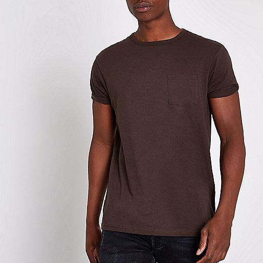 Dark brown chest pocket short sleeve T-shirt