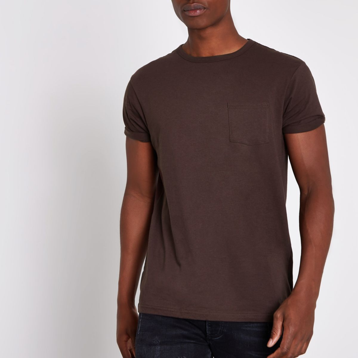 Dark brown chest pocket short sleeve t shirt t shirts for Black brown mens shirts