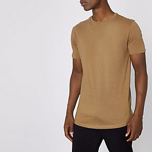 Tan longline curved hem T-shirt
