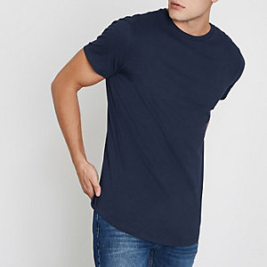 Navy longline curved hem T-shirt