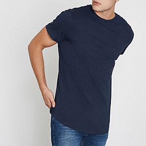 Marineblauw lang T-shirt met ronde zoom