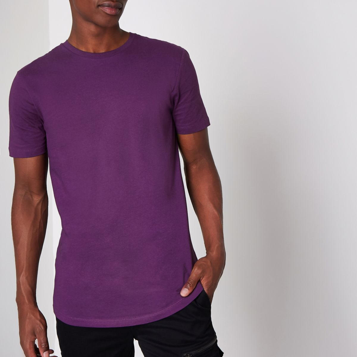 Purple longline curved hem T-shirt