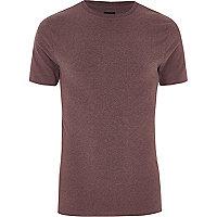 T-shirt ajusté rose foncé à col ras-du-cou