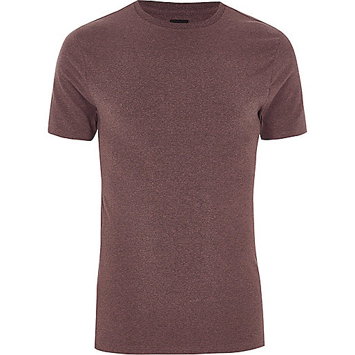 Dark pink muscle fit crew neck T-shirt