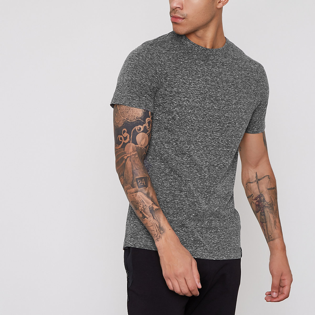 Dark grey slim fit T-shirt