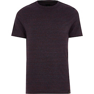 Donkerrood slim-fit T-shirt met ronde hals