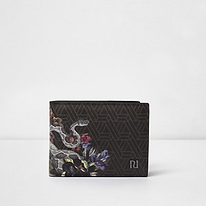 Grijze portemonnee met geometrische print en slangenmotief