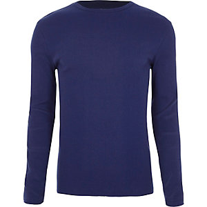 Blaues, langärmliges Slim Fit T-Shirt