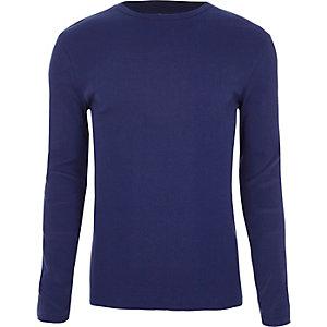 T-shirt slim côtelé bleu à manches longues