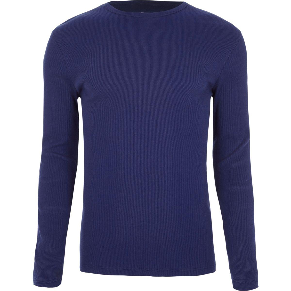 Blauw geribbeld slim-fit T-shirt met lange mouwen