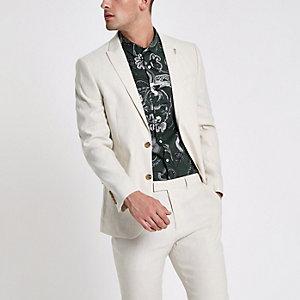 Slim Fit Anzugsjacke aus Leinenmischung in Creme