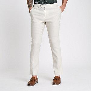 Cream linen blend slim fit suit trousers