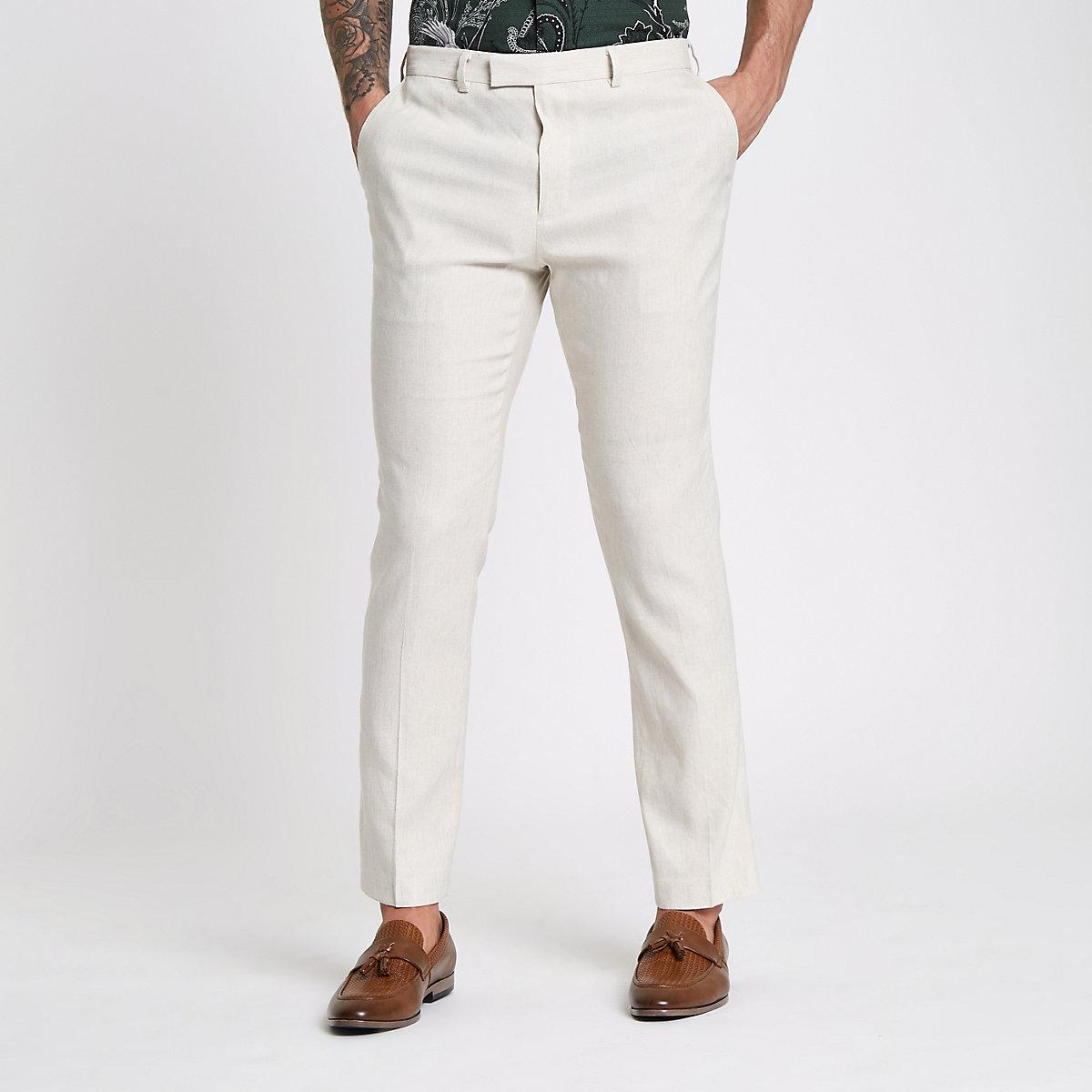 Cream linen blend slim fit suit pants