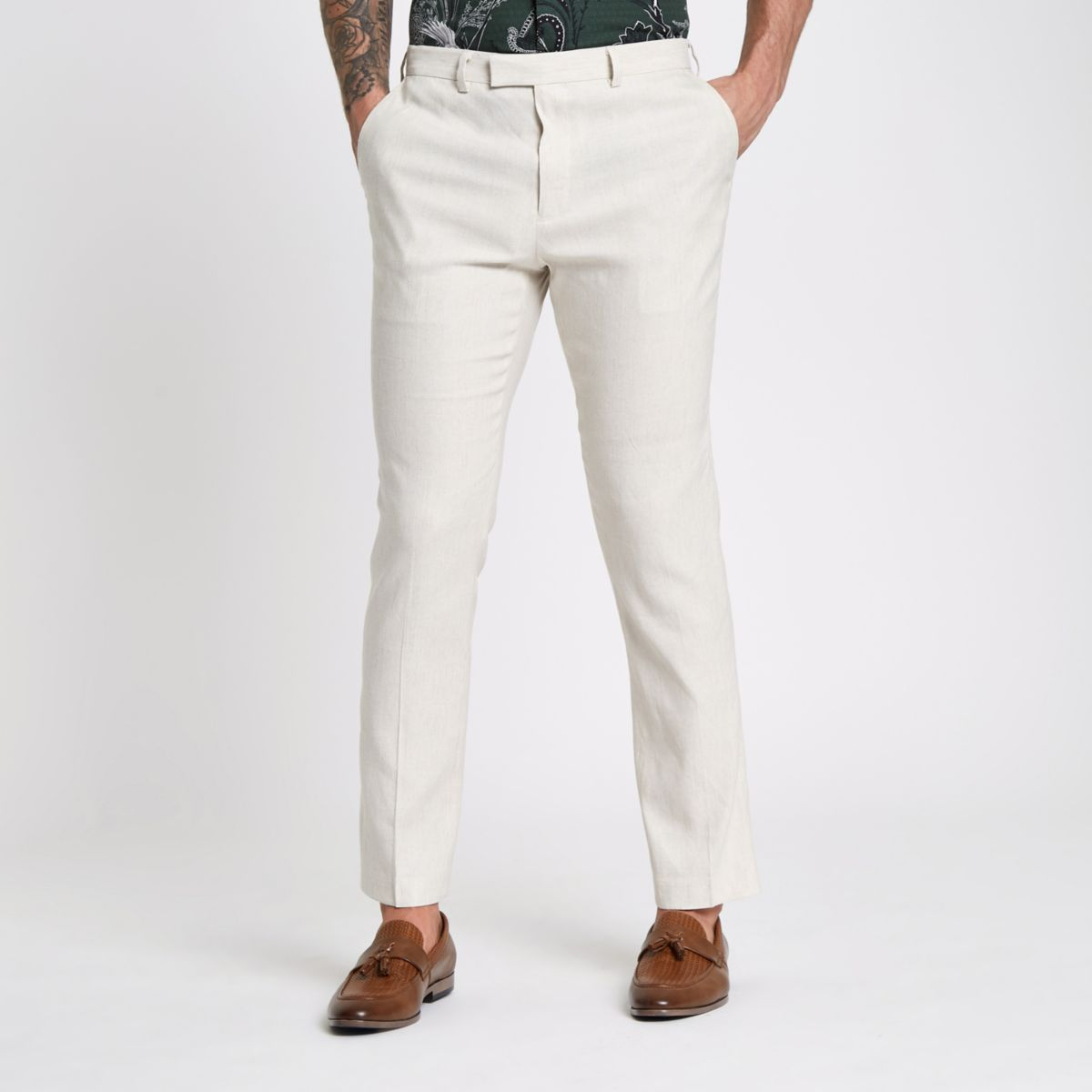 Slim Fit Anzugshose in Creme aus Leinenmischung