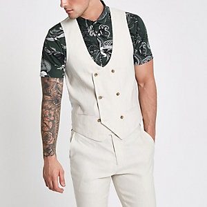 Cream linen blend double breasted waistcoat