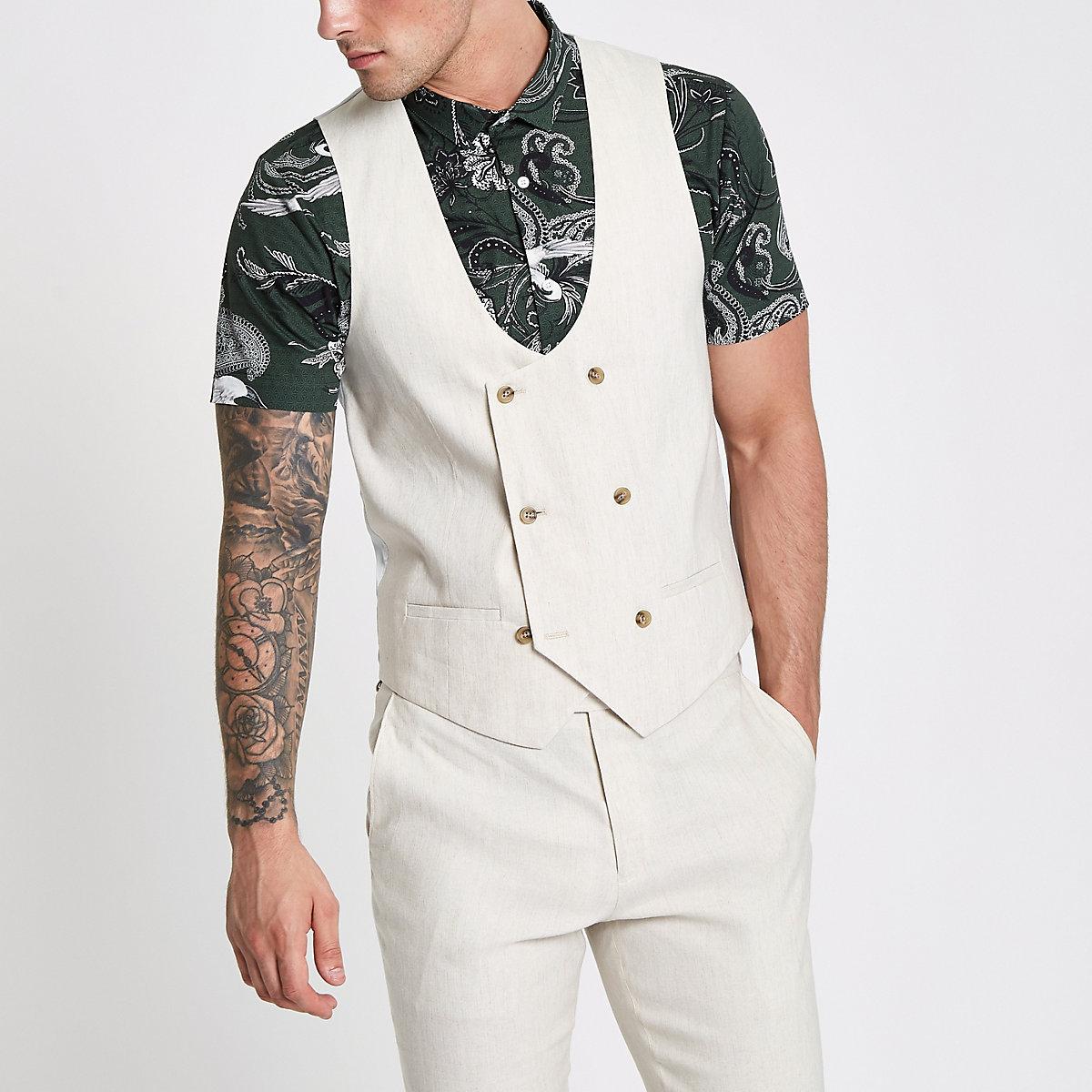 Cream linen blend double breasted vest