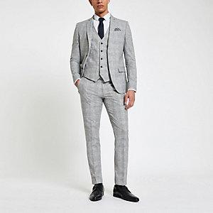 Lichgrijze geruite skinny-fit pantalon