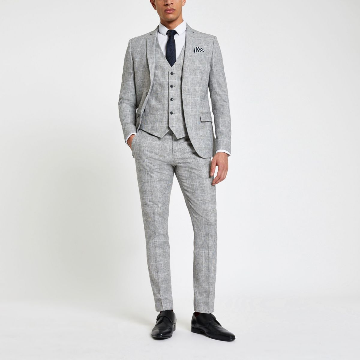 Light grey check skinny fit suit trousers