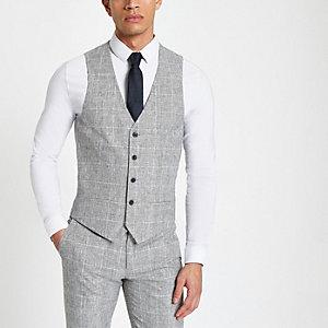 Gilet de costume texturé à carreaux gris clair