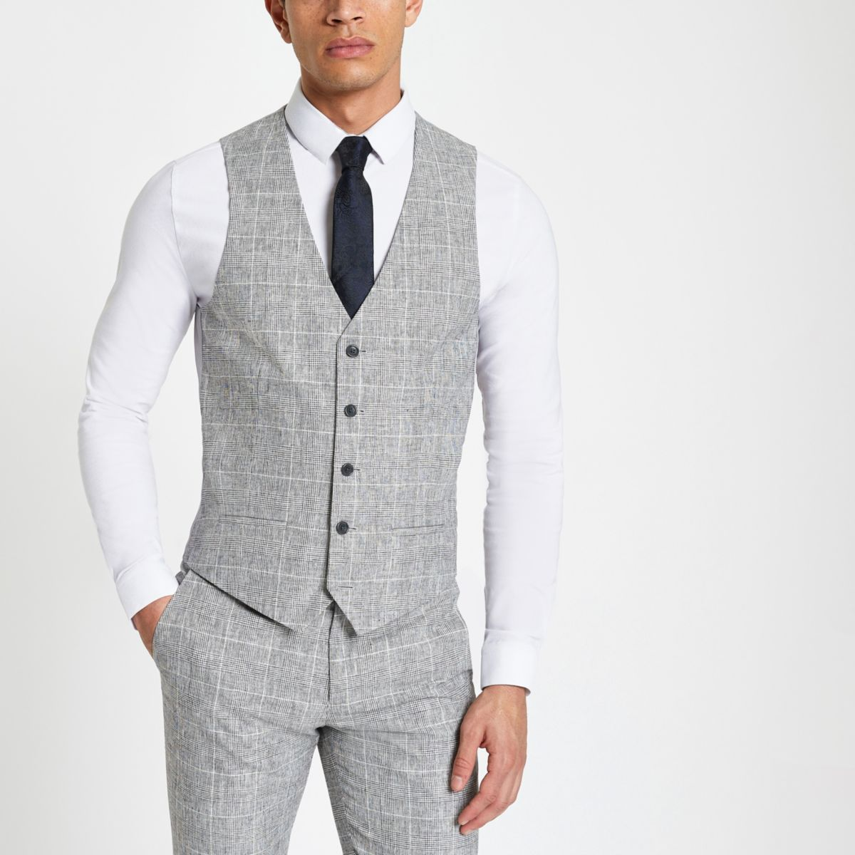 Light grey textured check suit waistcoat