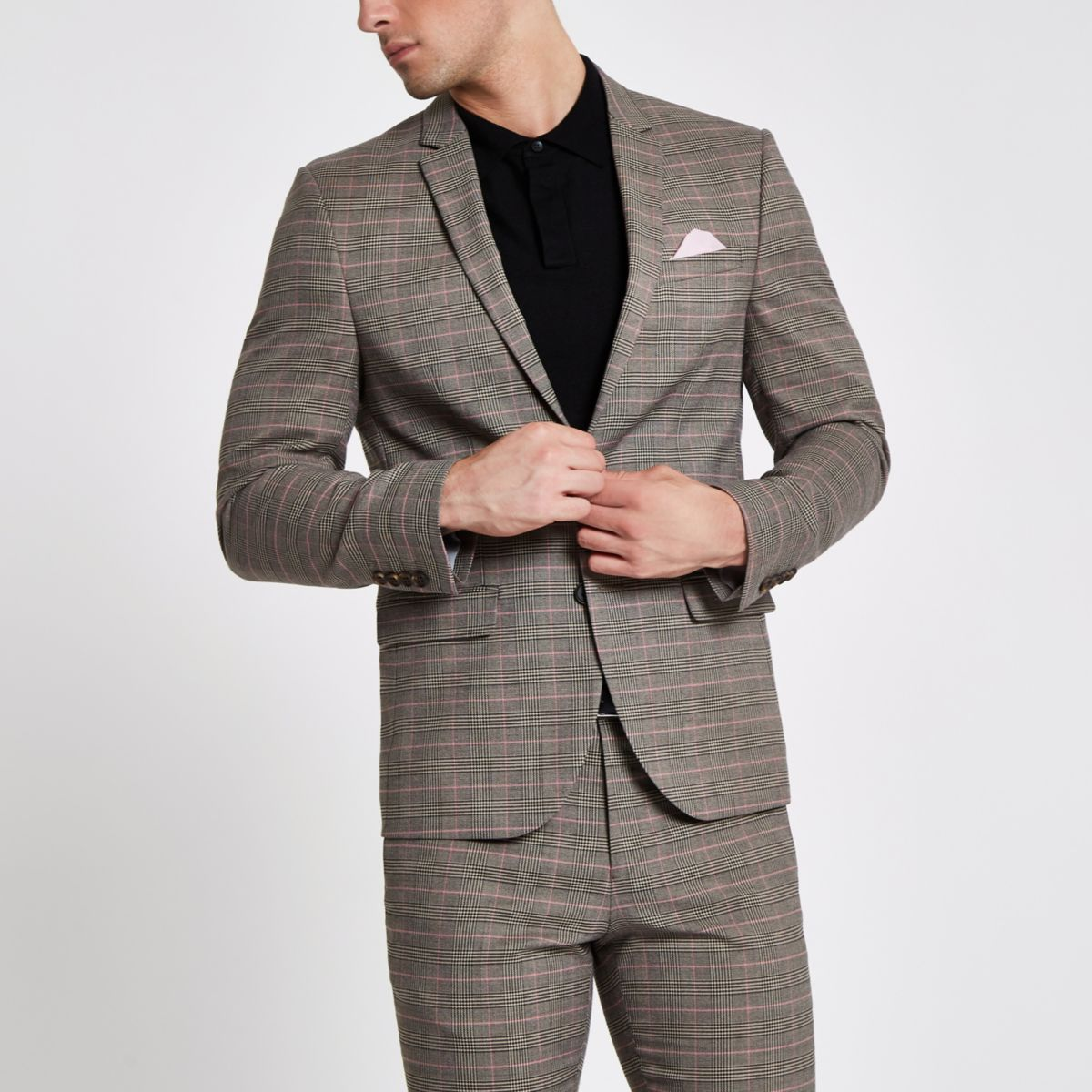Brown check skinny suit jacket