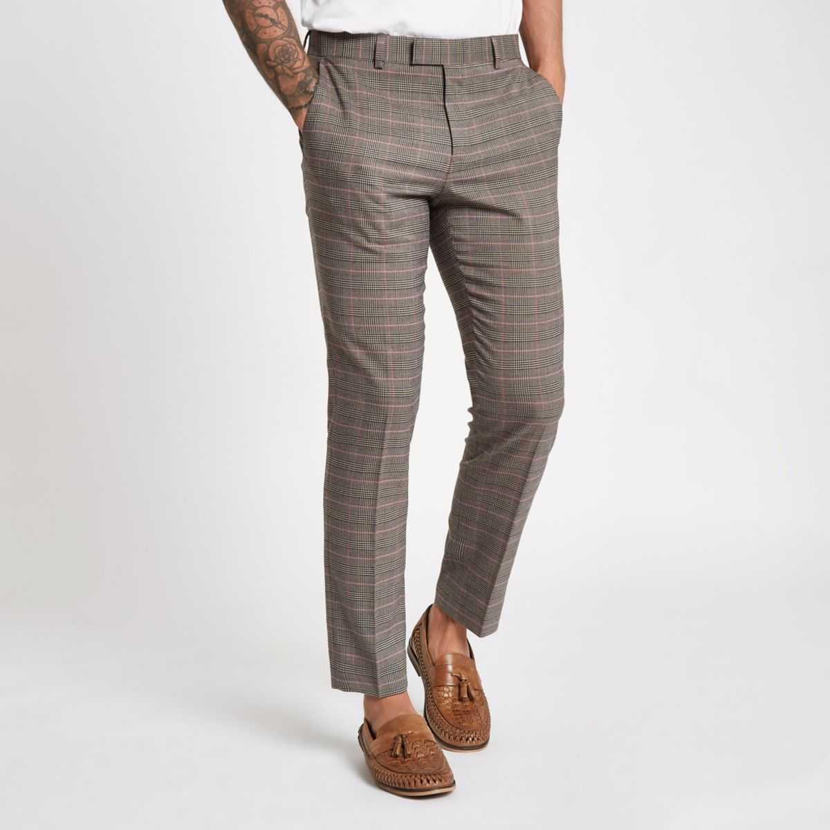 Brown check skinny fit suit pants