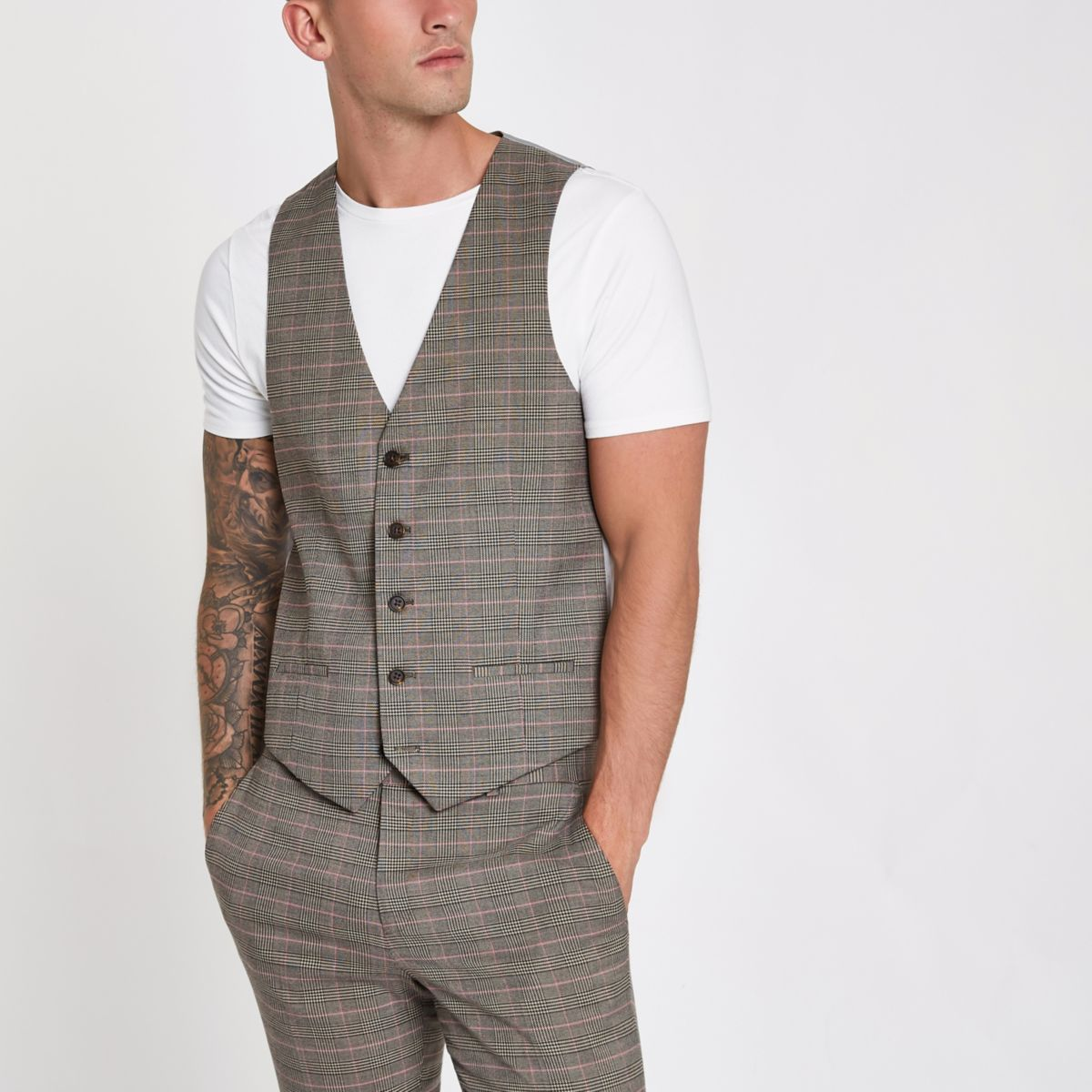 Brown and pink check suit vest
